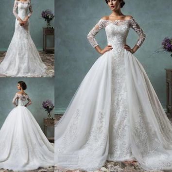 Vintage Mermaid Wedding Dress Detachable Train Long Sleeve Illusion Lace Embroidery Wedding Gown