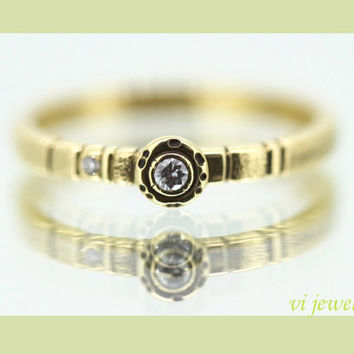 Delicate 18K  Solid yellow Gold / white Diamonds/ Handmade/ unique Engagement ring