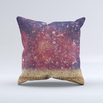 The Red and Blue Unfocused Orbs with Gold ink-Fuzed Decorative Throw Pillow