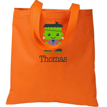 Embroidered Orange Frankenstein HALLOWEEN Trick or Treat Bag Basket Candy Cute Bag Monogrammed Personalized Name Initials