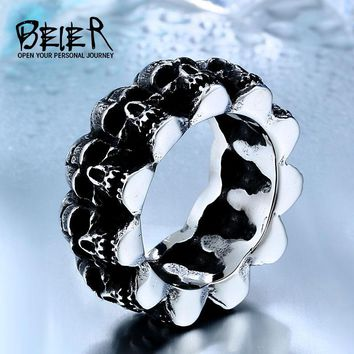 Unique Heavy Metal Skull For Man Stainless Steel Titanium Man's Punk Ring BR8-225