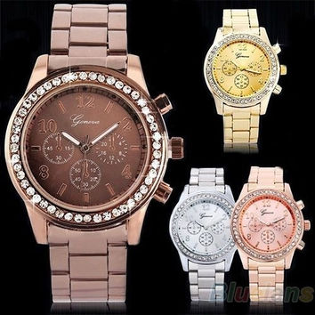 Lady Women Fashion Luxury Gold Crystal Quartz Rhinestone Crystal Wrist Watch = 1916814020