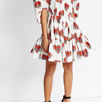 Printed Cotton Dress - Alexander McQueen | WOMEN | US STYLEBOP.COM