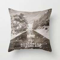 Never stop exploring ... forests Throw Pillow by Guido Montañés