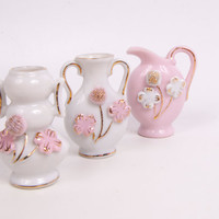 Vintage  Ucagco Miniature Vases Set of 3 Porcelain Hand Applied Flowers Pink and White Made in Japan