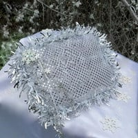 Winter Wedding - Ring Bearer Pillow - Winter Wonderland - Holiday Wedding - Wedding Pillow - Ring Pillow - Bling Wedding - Pillows