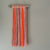Boho Room Decor Wall Hanging, Neon Orange and light Pink, Boho Yarn Handmade, Home decor ideas, Boho Style, Wall Art, Home and Decor Ideas
