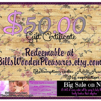 Fundraiser Special 50 Dollar Wooden Gift Certificate - Printable redeemable