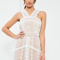 Missguided - White V Strap Lace Mini Dress