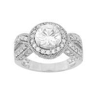 Cubic Zirconia Sterling Silver Halo Ring (White)