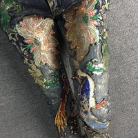 Europe Station 2016 New Fashion Personality Women  flower stitch colorful beauty design female sequins oil painting ladies Jeans