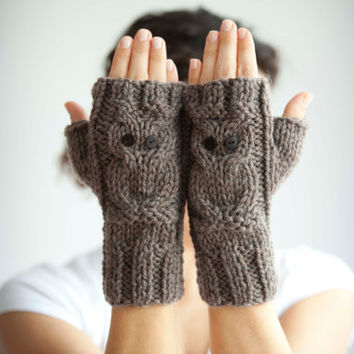 Owl Brown Fingerless Gloves - Mittens