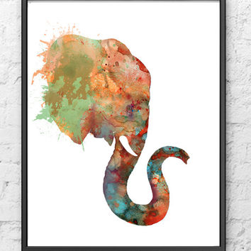 Elephant Watercolor Art print - Animal Painting Print
