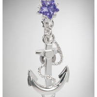 14 Gauge Clear Star Anchor Banana Belly Button Ring