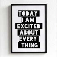 i am excited quote poster print, Typography Posters, Home wall decor, Motto, vintage, retro, inspirational quote
