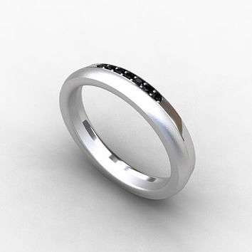 black Diamond ring, Titanium, wedding band, promise, womens titanium band, wedding ring, titanium engagement, black Diamond, thin