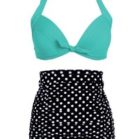 Womens Retro Polka Dot High Waist Bikini Two Piece Swimsuit Set