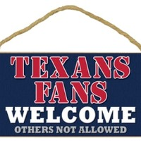 "Wincraft Houston Texans Fans Wood Sign  5""x10"" Welcome"