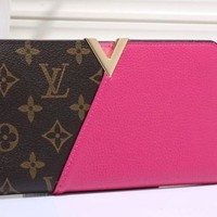 LV fashion leather spell color long wallet[380405383204] F