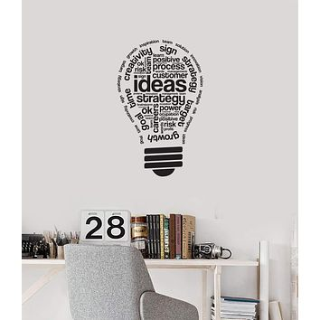 Vinyl Wall Decal Lightbulb Ideas Office Space Interior Inspirational Words Stickers Mural (ig5734)