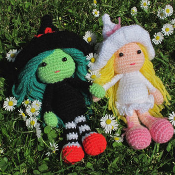 Wicked Witches - Elphaba & Glinda Wizard of Oz crochet doll set