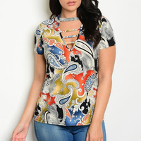 Women Plus Size Slim Top Blouse Multi-Color Paisley Short Sleeve Casual Fitted