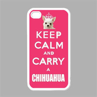 Cute iPhone Case Keep Calm iPhone 4 Case iPhone 4s Case Keep Calm and Carry a Chihuahua Pink Cover
