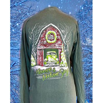Sassy Frass Heaven & Nature Sing Christmas Barn Comfort Colors Long Sleeve Bright Girlie T Shirt