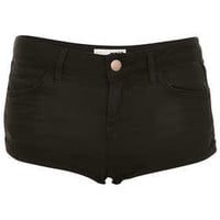 MOTO Black Denim Hotpants - Shorts  - Clothing