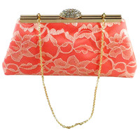 Calypso Coral and Champagne Bridal Clutch