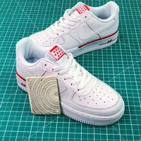 Nike Air Force 1 Low Af1 White / White-red Sport Shoes - Best Online Sale