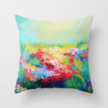 ETHERIAL DAYS - Stunning Floral Landscape Nature Wildflower Field Colorful Bright Floral Painting Throw Pillow by EbiEmporium | Society6