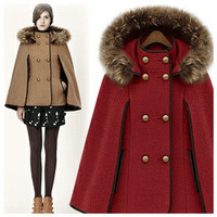 Womens Capes And Poncho  Wool Coat  Removable Raccoon Hooded Fur
