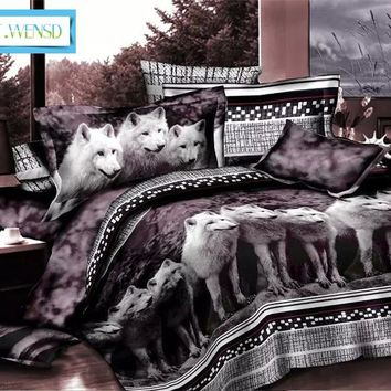 BEST.WENSD 3D Bedclothes Wolf Leopard Tiger Lion Panda Flower /4pcs Bedding Set King size Reactive Print luxury bedding sets