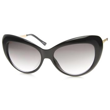Womens Oversized Mod Fashion Metal Temple Oval Cat Eye Sunglasses