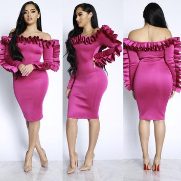 Off Shoulder Ruffles Party Dress