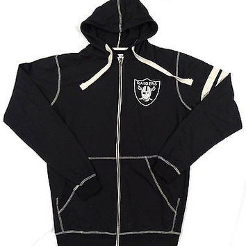 Oakland Raiders Majestic Full Zip Hooded Sweatshirt Size MT