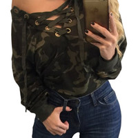 Lace Up V-neck Camouflage Long Sleeve Top