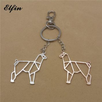 Elfin Unique Trendy Origami Alpaca Keychains Geometric Jewellery Fashion Alpaca Key Rings For Women Men Origami Animal Jewellery