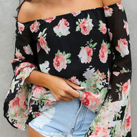Floral Off Shoulder Chiffon Blouse