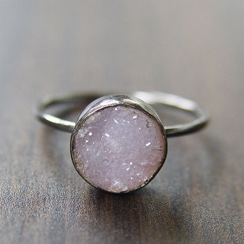Vanilla Druzy Silver Ring, Galvanized Sterling