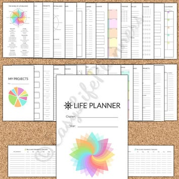 "LIFE PLANNER Personal Size Filofax. 3.7""x6.7"" Undated 36 printable PDFs. Daily, Weekly, Monthly, Project,Household planner. Instant Download"