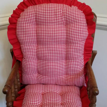 Gingham High Chair Cushions, Highchair Pads, Wooden High Chair Cushions, Rocking Chair Cushions, High Chair Cover
