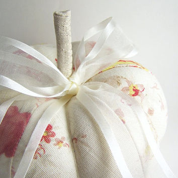 Off White Decorative Pumpkin in Red Floral by SeaPinks on Etsy