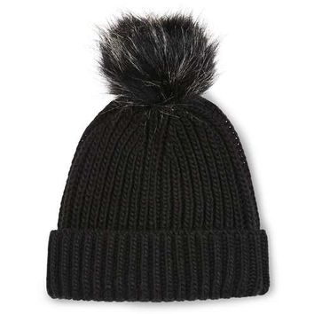 Faux Fur Pom-Pom Beanie Hat - Hats - Bags & Accessories