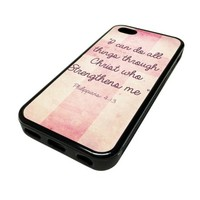 Apple iPhone 5C 5 C Case Cover Christ Who Strengthens Me Quote Pink DESIGN BLACK RUBBER SILICONE Teen Gift Vintage Hipster Fashion Design Art Print Cell Phone Accessories