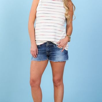 Watercolor Striped Ringer Tank