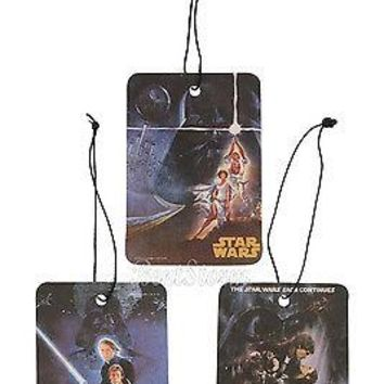 Licensed cool STAR WARS MOVIE 3 PACK VANILLA SCENT HOME CAR Air Freshener LASTING SMELL NEW