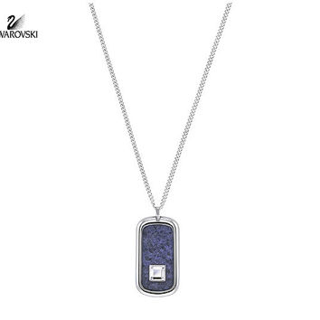 Swarovski Clear Crystal Men's Necklace EFFECT Pendant BLUE #5182049