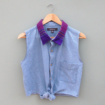 Vintage Reworked Navajo Collar Denim Crop Shirt